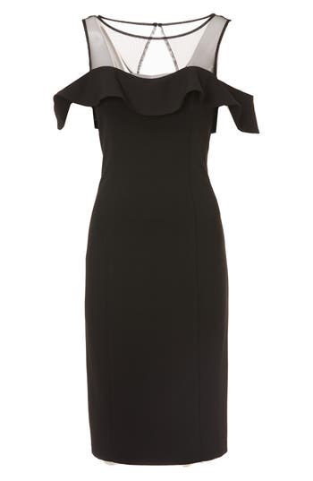 Js Collections Illusion Neck Ruffle Sleeve Cocktail Dress