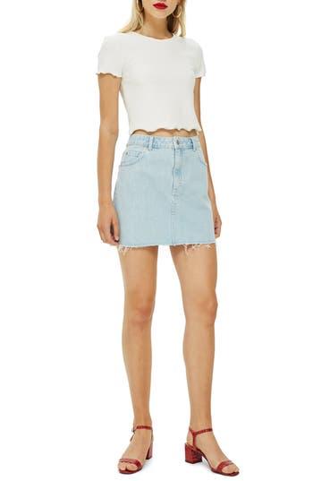 Topshop Moto Raw Hem Denim Miniskirt, US (fits like 0-2) - Blue