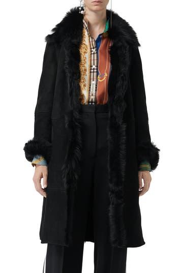Burberry Thetsford Genuine Shearling Jacket, Black
