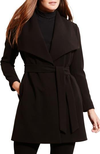 Plus Size Lauren Ralph Lauren Wrap Coat, Black