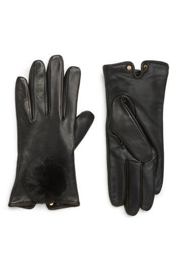 Ted Baker London Pom Leather Touchscreen Gloves
