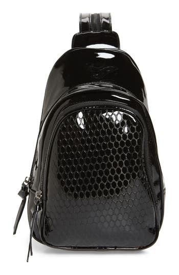 Violet Ray New York Faux Textured Patent Leather Convertible Backpack - Black