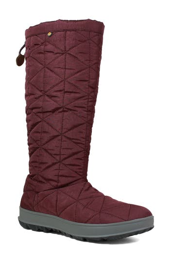 Bogs Snowday Tall Waterproof Quilted Snow Boot, Burgundy