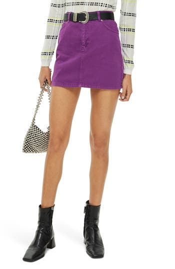 Topshop Denim Miniskirt, US (fits like 0) - Purple