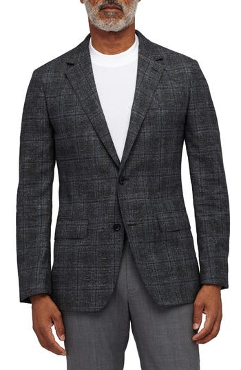 BONOBOS Slim Fit Unconstructed Plaid Sport Coat in Olive And Grey