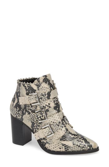 Humble Bootie, Natural Snake Print Leather
