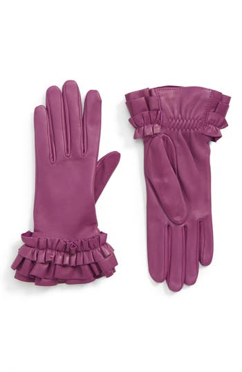 Agnelle Frill Cuff Lambskin Leather Gloves - Purple