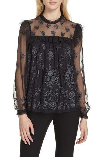 Lace Illusion Top, Washed Black