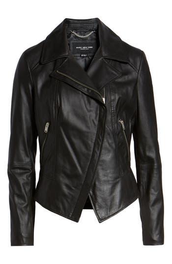 MARC NEW YORK Bayside Lightweight Leather Moto Jacket in Black