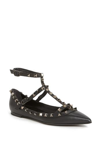 Women's Valentino Garavani 'Rockstud' Double Ankle Strap Pointy Toe Flat