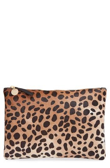Clare V. Genuine Calf Hair Leopard Print Zip Clutch -