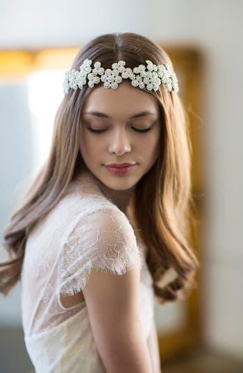 Brides & Hairpins Fiora Crystal Halo & Sash, Size One Size - Grey