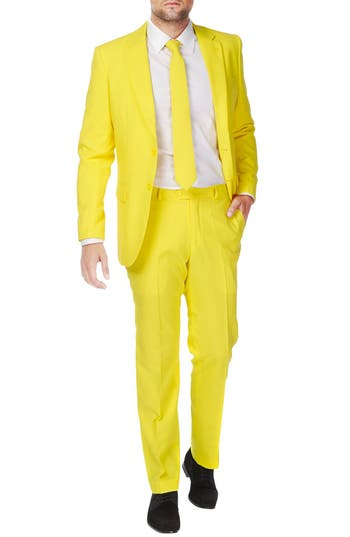 1960s Style Mens Suits- Skinny Suits, Mod Suits, Sport Coats Mens Opposuits Yellow Fellow Trim Fit Two-Piece Suit With Tie $99.99 AT vintagedancer.com