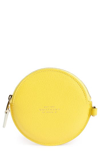 Women's Smythson Circle Leather Coin Purse - Yellow