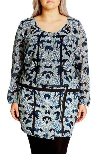 Plus Size Women's City Chic 'Stained Glass' Blouson Minidress