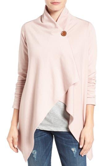 Women's Bobeau One-Button Fleece Wrap Cardigan, Size Medium - Pink