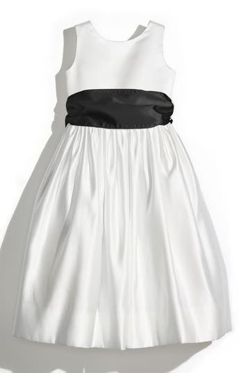 Girl's Us Angels Sleeveless Satin Dress With Contrast Sash, Size 6X - Black
