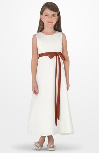 Girl's Us Angels Sleeveless Satin Dress, Size 4 - Brown