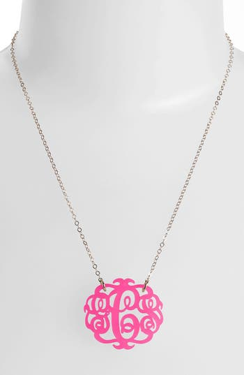 Women's Moon And Lola Medium Oval Personalized Monogram Pendant Necklace (Nordstrom Exclusive)