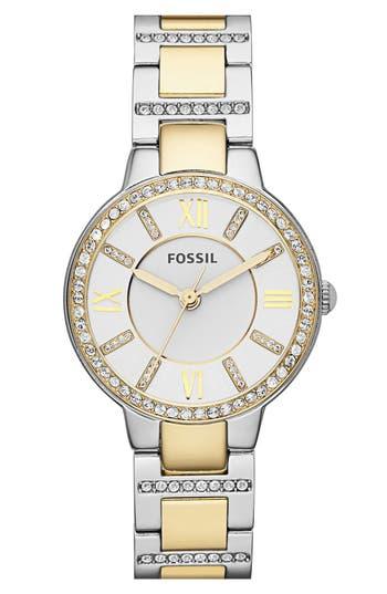 Women's Fossil 'Virginia' Crystal Bezel Bracelet Watch, 34Mm