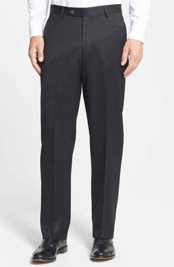 Men's Berle Flat Front Wool Gabardine Trousers