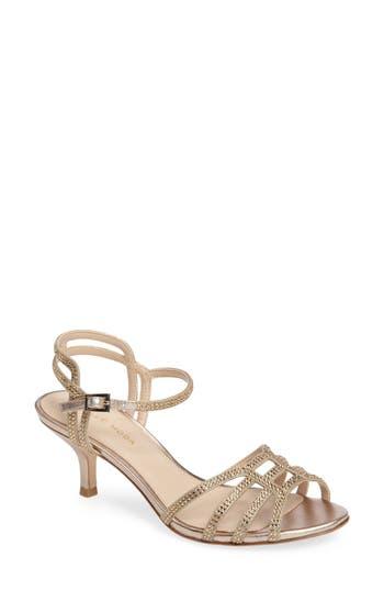 Pelle Moda Alia Embellished Strappy Sandal, Metallic