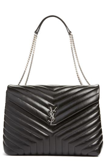 Saint Laurent Monogram Quilted Leather Slouchy Shoulder Bag -
