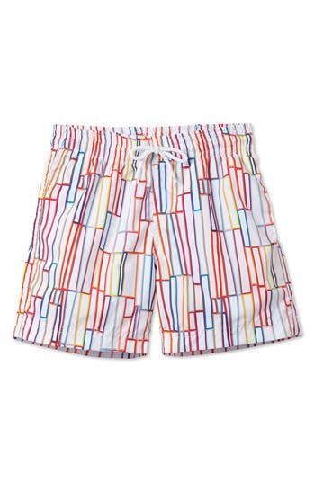 Boy's Stella Cove Grid Print Swim Trunks