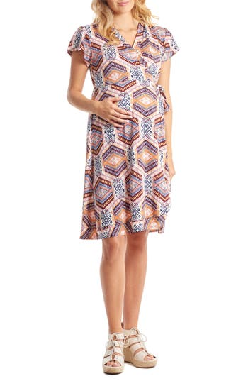 Women's Everly Grey 'Kathy' Maternity/nursing Wrap Dress, Size X-Small - Blue