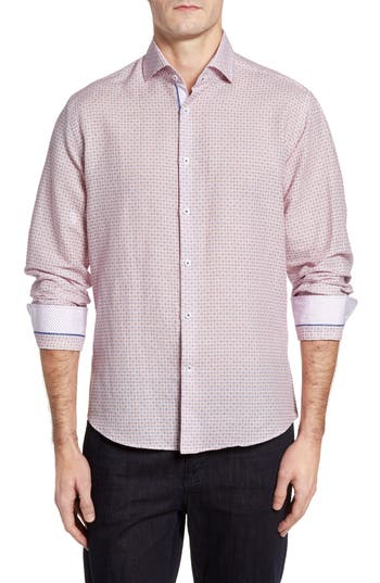 Men's Stone Rose Trim Fit Geo Print Linen Blend Sport Shirt