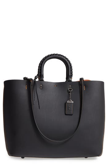 Coach 1941 Rogue Embellished Handle Leather Tote - Black