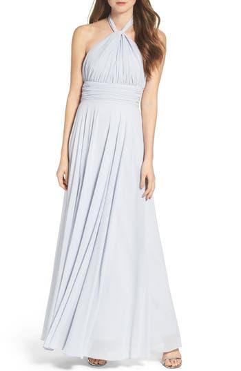 1960s Style Formal Dresses Womens Lulus Chiffon Halter Gown Size X-Large - Blue $84.00 AT vintagedancer.com