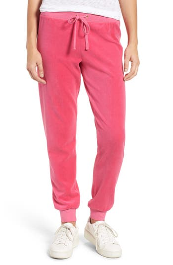 Women's Juicy Couture Zuma Velour Track Pants, Size Small - Pink