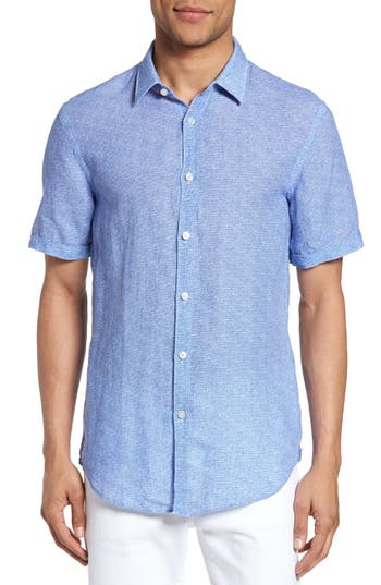 Men's Boss Ronn Extra Slim Fit Print Linen Sport Shirt