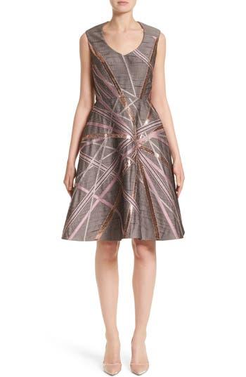 Women's Rubin Singer Jacquard Fit & Flare Dress, Size 4 - Grey