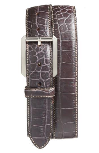 Bosca Embossed Leather Belt, Dark Brown