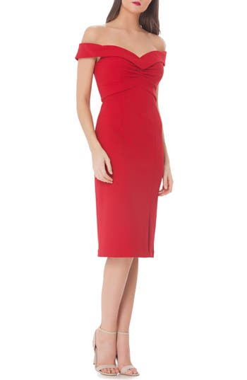 Women's Js Collections Ruched Off The Shoulder Sheath Dress