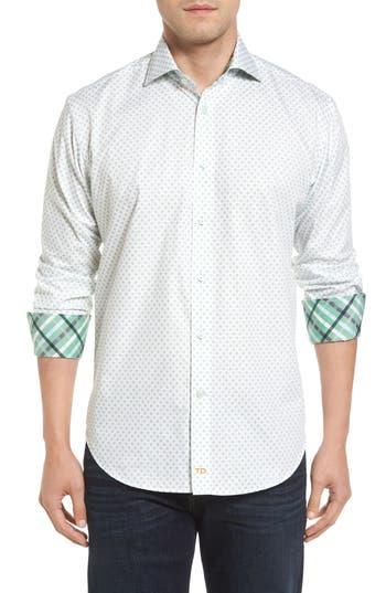 Men's Thomas Dean Classic Fit Neat Floral Print Sport Shirt