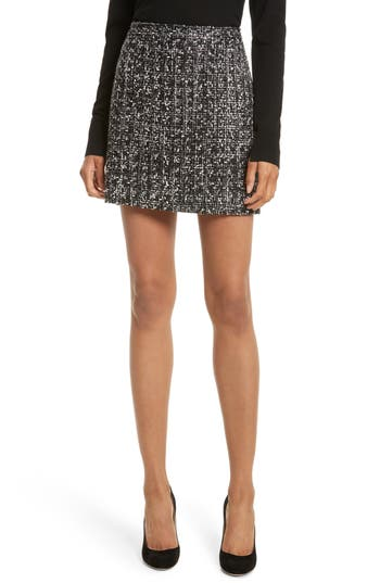 Women's Milly Modern Tweed Miniskirt, Size 8 - Black