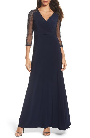 Vintage Evening Dresses and Formal Evening Gowns Womens Adrianna Papell Sequin Jersey Gown Size 12 - Blue $109.92 AT vintagedancer.com
