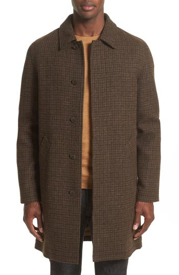 60s 70s Men's Retro Sweaters, Jackets, Coats Mens A.p.c. Tweed Overcoat Size Large - Burgundy $635.00 AT vintagedancer.com