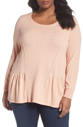 Plus Size Women's Sejour Peplum Sweater, Size 0X - Pink