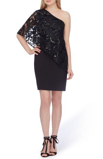 Women's Tahari One-Shoulder Sequin Dress, Size 2 - Black