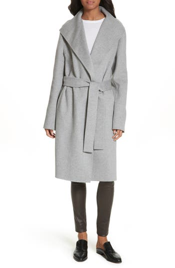 Women's Joseph Lima Double-Face Wool & Cashmere Wrap Coat, Size 10 US / 44 FR - Grey