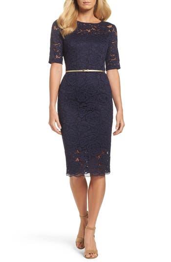 Women's Ellen Tracy Belted Lace Sheath Dress