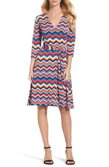 Women's Leota Print Jersey Faux Wrap Dress, Size X-Small - Blue