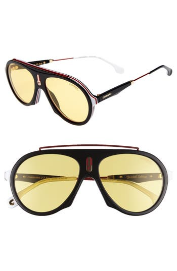 Carrera Flag 57Mm Mirrored Pilot Sunglasses - Black/ Burgundy