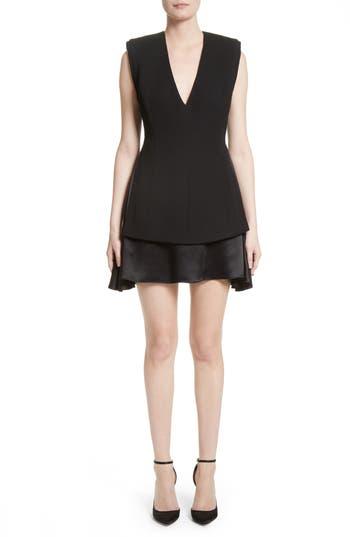 Women's Brandon Maxwell Mixed Media V-Neck Dress