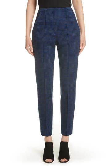 Women's Jason Wu Houndstooth Plaid Wool Slim Pants, Size 4 - Blue