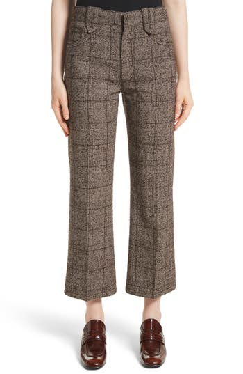 Women's Marc Jacobs Plaid Tweed Crop Pants, Size 4 - Brown